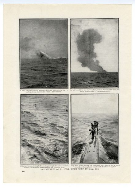 1916 WW1 AIRSHIP L7 Shot Down HORN REV North Sea Survivors Picked Up by Submarine